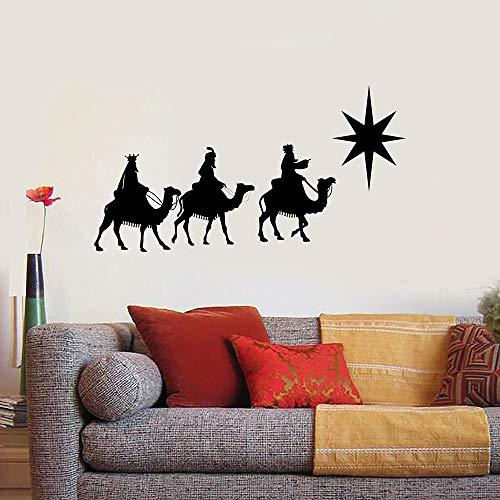 Calcomanía de pared Tres Reyes Magos Camel Back Art Puerta Ventana Vinilo Pegatina Dormitorio Sala de estar Decoración Interior del hogar Pared 57x105cm