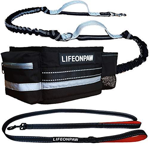 Lifeonpaw Hundeleine, Stoßdämpfer, ausziehbar, Komplett-Set, Canicross-Gürtel für Laufen, Laufen, Joggen, Wandern, mit reflektierenden Nähten