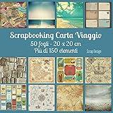 Scrapbooking Carta Viaggio: 50 fogli - 20 x 20 cm Più di 150 elementi