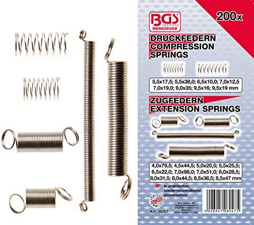 BGS 8047 Sortiment Zug- und Druckfedern 200 teilig