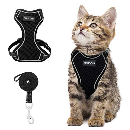 DMISOCHR Cat Harness and Leash Set - Escape Proof Safe Cat Vest Harness for Walking Outdoor - Reflective Adjustable Soft Mesh Breathable Body Harness - Easy Control for Small, Medium, Large Cats