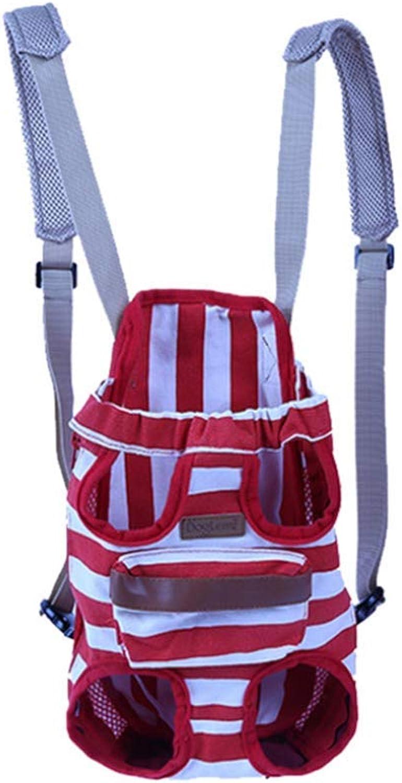 MHO Pet Carrier Backpack Front Pack Pet Front Backpack HighEnd Pet Striped Chest Bag Adjustable Pet Front Cat Dog Carrier Backpack Travel Bag Traveling Hiking Camping,Red,L