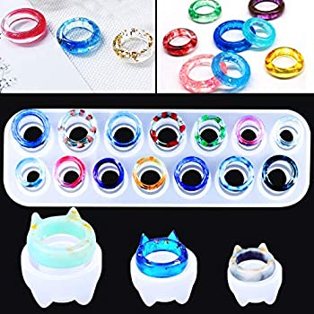 Mity Rain 17 Cavities Resin Ring Mold Silicone Jewelry Epoxy Resin Casting Molds for DIY Necklace Pendant Earrings Resin Keychains Crayons Clay Crafts