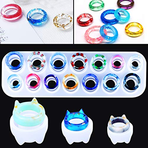 Mity Rain 17 Cavities Resin Ring Mold Silicone Jewelry Epoxy Resin Casting Molds for DIY Necklace Pendant, Earrings, Resin Keychains, Crayons, Clay Crafts