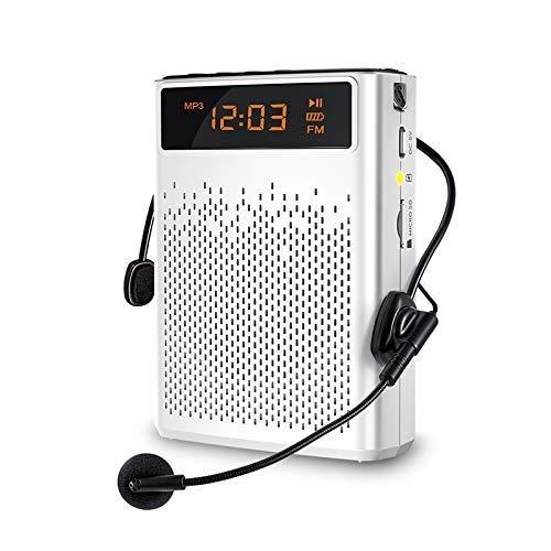 QCHEA Altavoz del Amplificador de Voz de Bluetooth Impermeable, Amplificador de micrófono Megáfono portátil inalámbrico para Exteriores, Profesores, Entrenadores, Ancianos, guía turístico, etc.