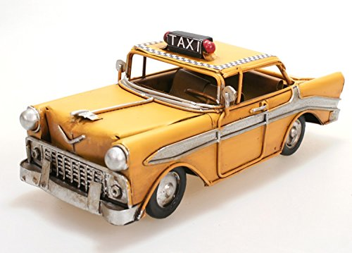 NYC Yellow Taxi aus Metall mit Rahmen 16 cm Oldtimer Nostalgie Blech