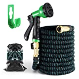 Expandable Garden Hose, Flexible Yard Hose, Durable Water Hose, 8 Function Spray Nozzle, 3/4' Solid Brass Connectors, Lightweight Expanding Flexible Water Hose-50FT