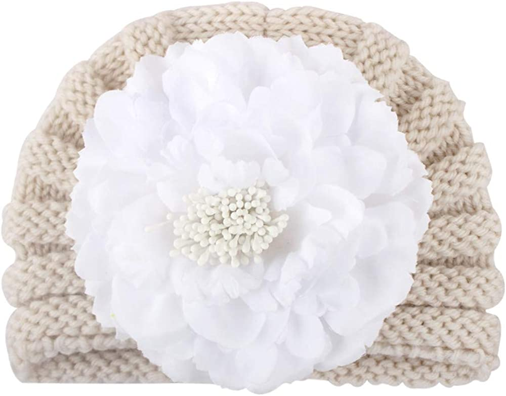 NotingBuss-Home Baby Cap Hairball Girl's Cute Hat Knit Beanie Warm Turban hat Hedging Cap Christmas Flower Decoration
