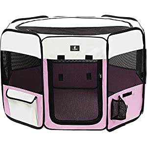 X-ZONE PET Portable Foldable Pet Dog Cat Playpen Crates Kennel/Premium 600D Oxford Cloth,Removable Zipper Top, Indoor and Outdoor Use (XL, Pink)