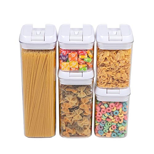 Airtight Food Storage Container Set of 5 by CooksBestStuff - SAFETY FIRST - BPA Free - Meets FDA Food Contact Requirements - Easy Open Close Canisters Durable New Strong Handles - No leak SpaceSaver