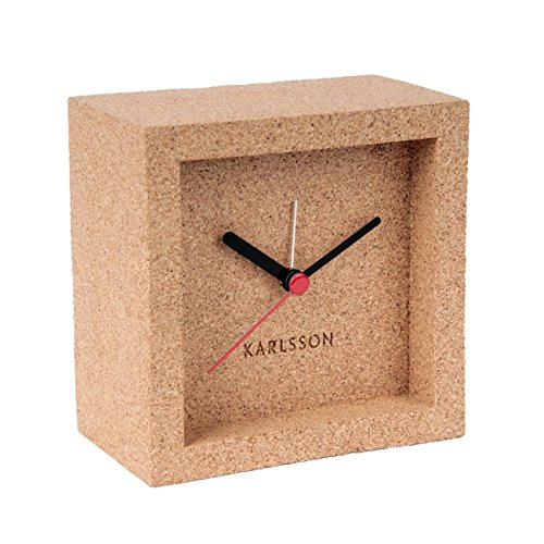 Karlsson Franky Uhr, Tischuhr, Kork, natürlich, 10 x 10 cm - Tiefe 5,5 cm