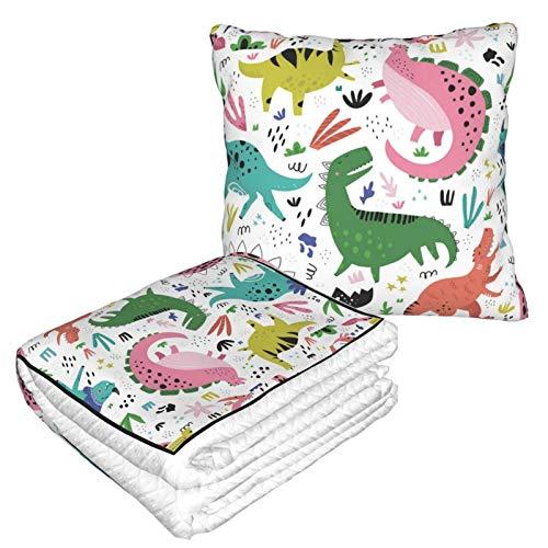 Suave manta de almohada 2 en 1, lindos dinosaurios (7) manta de forro polar para sofá de cama, almohada de oficina para mujeres y niñas