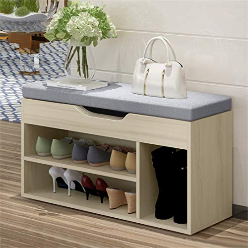 Freeby-US Simple Modern Shoe Storage Stool Shoe Cabinet Fashion Sofa Bench Change Shoe Bench Shoe Organizer Rack,Shipped from The US (Gray, 31.5 x 11.9 x 17.8 inches)