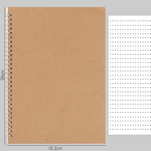 HBNNBV Diario 16K / A5 / A6 Cubierta de Khaki Puntos de Cuaderno/Cuadrado/gobernado/en Blanco 100 páginas Papel Daily Writing Planner Oficina Suministros Escolares Papelería Suave Forrado