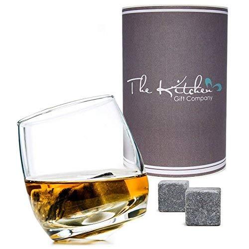 Rocking Whiskey Glass & Whisky Stones Set - A Unique and Cool Bar Gift Set for Any Liquor Lover