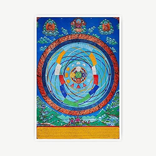 Z.L.F.J.P Tibetisch Tibetanische Thangka Dekorative Malerei Inkjet Druck Poster Bilder Schlafzimmer Leinwand Hängende Gemälde (Color : A, Size (Inch) : 35x52cm No Frame)