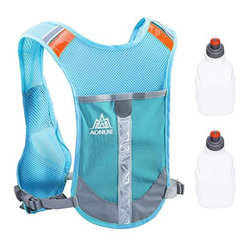 TRIWONDER Reflektierende Laufweste Trinkweste Trinkrucksack für Marathonläufer Laufradsport (Blau - mit 2 Wasserflaschen)