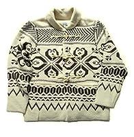 (フェアヴァリュー)FAIRVALUE ジャガード編み ショールカラー カウチン (L, オフホワイト)