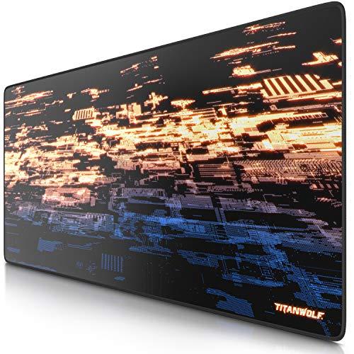 Titanwolf XXL Muismat Gaming 900 x 400 mm - XXL muismat groot met motief Tafelonderlegger Large Size - Verbetert de precisie en snelheid - voor muis en toetsenbord - Particle