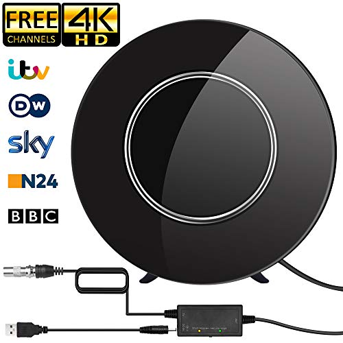 TV Antenna, Round TV Antenna, Digital Indoor 200KM Range with Intelligent Signal Amplifier, Suitable for 1080P Free TV Channels 4K, 5M Coaxial Cable Amplifier