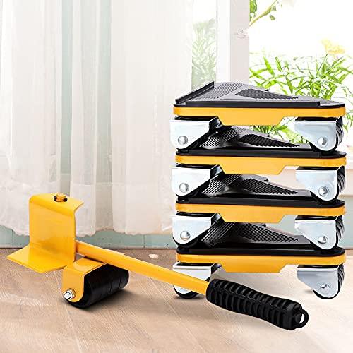 Levantador de muebles 5 Piezas Mover Muebles y Kit Elevador Retirable Portátil Tarea Pesada Herramienta para Mover Muebles de Transporte de Ruedas
