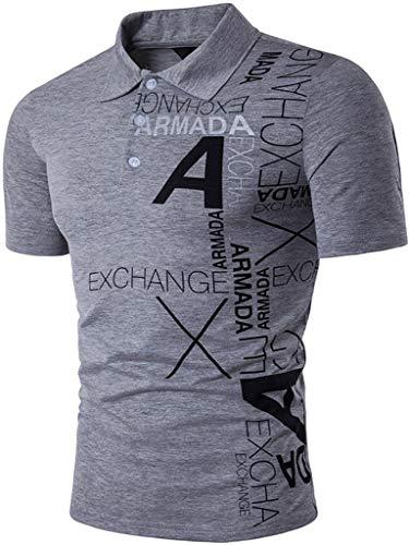 jeansian Herren Polo T-Shirts Tennis Golf Kurzärmliges Oberteil Polo-Shirt Mehrfarben Poloshirts JZA092 LightGray L