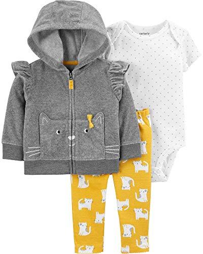 Carter's Baby Girls' 3-Piece Little Jacket Set, Grey, 18 Months