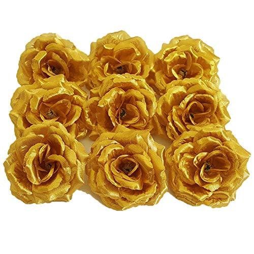 Eternal Blossom Silk Rose Flower Head, 20PCS for Hat Clothes Album Decoration, Decoration (Gold)
