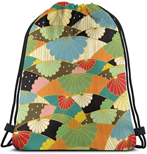Jhonangel Bolso con cordón de patrón japonés Origami para Bolsos de Gimnasia para niños y niñas 36 x 43 cm / 14.2 x 16.9 Pulgadas