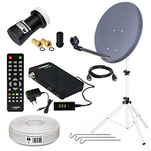 HB-DIGITAL Sat-Komplett-Set: Mini Sat Anlage 40cm Schüssel Anthrazit + UHD Single LNB 0,1 dB + 10m Kabel + HD Receiver ( für HDTV geeignet ) + Stahl Stativ