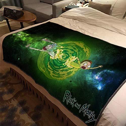 ASDIWON Rick and Morty Hochwertige warme weiche Flanell Plüsch auf der Schlafsofa Decke Geeignet für Klimaanlage Decke Nap Decke (B,60x80 in(150x200 cm))
