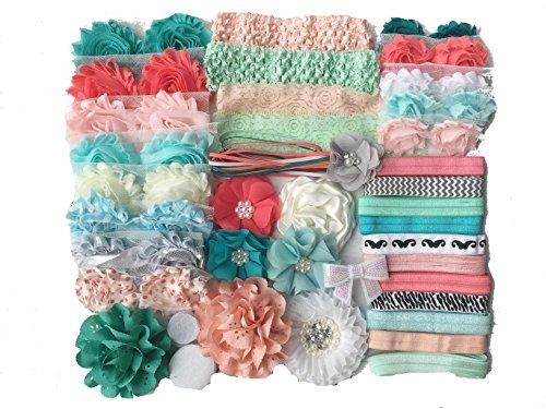 Bowtique Emilee Baby Shower Headband Kit DIY Headband Kit makes over 30 Headbands - Coral and Mint