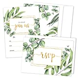 Set of 25 Fill-in Invitations with Envelopes and RSVP Cards - Greenery Gold Invites for All Occasions - Perfect for: Wedding, Bridal Shower, Engagement, Birthday Party, Baby Shower (25 Pack)