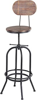 Bar Stools, Industrial Style Bar Stool Height Adjustable Swivel Kitchen Dining Chair pin-ewo-od Top Metal with Backrest Ba...
