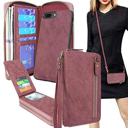 Lacass for iPhone 7 Plus/iPhone 8 Plus Crossbody Chain Dual Zipper Detachable Magnetic Leather Wallet Case Cover Wristlets Clutch Handbag Purse Wrist Strap with 13 Card Slot Money Pocket(Wine red)