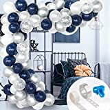 Image of 120 Pcs Whaline Balloon Arch & Garland Kit, Navy Blue White Latex Balloons Silver Confetti Balloons Set with 16ft Balloon Strip Tape,1pcs Tying Tool, 100 Glue Points for Wedding Birthday Party Decor