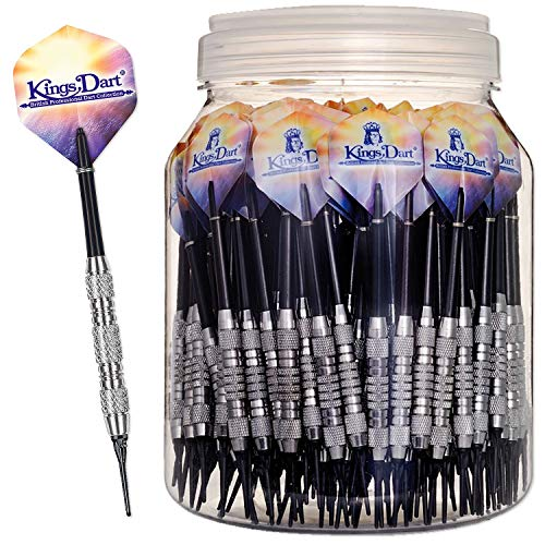 Kings Dart Dartpfeile-Set   100 Marken Softdart-Pfeile für elektronische Dartscheiben   100% Messing-Barrel, Longlife-Spitzen, Nylonschaft, Fullsize-Flights   18g   L: 15 cm