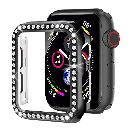 Glebo Carcasa compatible con Apple Watch 44mm iWatch Serie SE 6/5/4, con protector de pantalla de vidrio templado integrado, PC carcasa rígida con brillantes de estrás para mujer, Negro