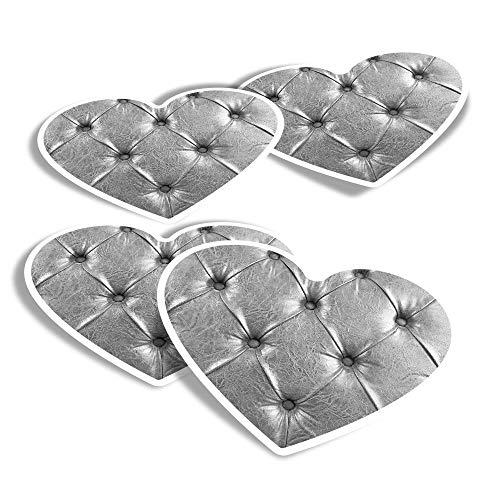 Pegatinas de vinilo con forma de corazón (juego de 4) – Plata Chesterfield Old Leather para sofá, calcomanías divertidas para portátiles, tabletas, equipaje, reserva de chatarra, frigoríficos #16139