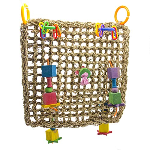 ZJL220 Straw Braid Rope Net Hammock Ladder Bird Foraging Wall Toy for Parrot Parakeet Cockatiel Conure Cockatoo African Grey Macaw Eclectus Amazon Lovebird Finch Canary Cage Perch Stand