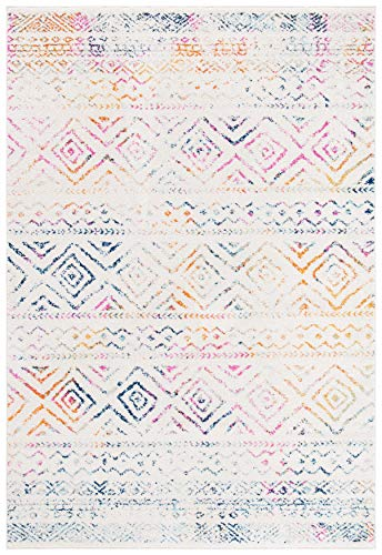 Safavieh Tulum Collection TUL267E Boho Moroccan Distressed Area Rug, 2' x 5', Ivory/Fuchsia