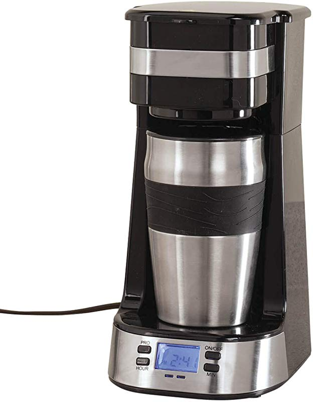 Programmable Single Cup Coffee Maker With Travel Cup By HMP