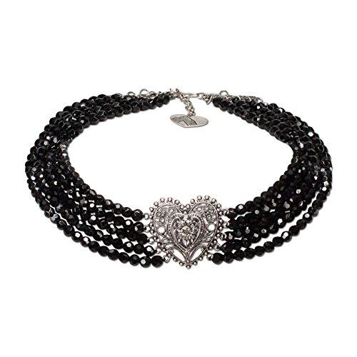 Alpenflüstern Perlen-Trachten-Collier Louise - Trachtenkette mit Trachtenherz - Damen-Trachtenschmuck Dirndlkette schwarz DHK126