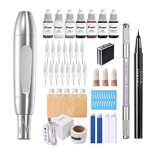 Charme Princesse Permanent Makeup Tattoo Machine Kit with 15pcs Cartridge Needles Microblading Manual Pen Eyeliner Eyebrow Ruler Practice Skin Ring Cup Microblading Supplies Pigments EK516