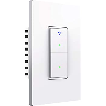Smart Light Switch, 2 Way WiFi Smart Switch Button, Compatible with Alexa and Google Home, Remote Control with Timing Funtion, No Hub Required,Smart Life APP Provides Control from Anywhere