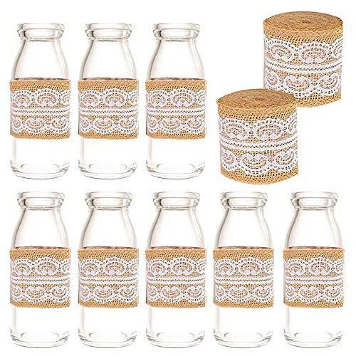 Amajoy - Bote de Cristal Vintage con Tapas de Corcho y Cinta de Encaje para decoración de Botellas de Leche, para...