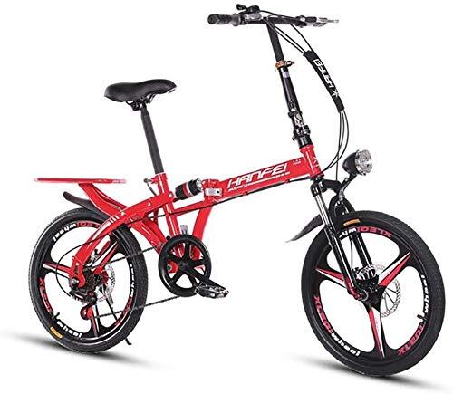 Syxfckc , Suspensión Doble y Trasera portaequipajes Tranquila con Doble Velocidad del Disco Bicicleta Plegable de 6 (Color : Red, Size : 20inch)