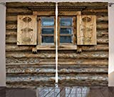 ABAKUHAUS Rustico Tenda, Otturatore di Legno del Cottage, Usanza Personalizzata Stampa Digitale Lavabile Due Pannelli Set, 280 x 225 cm, Marrone Beige