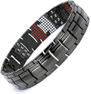 Pure Titanium Stylish Magnetic Bracelet for Man Germanium Far-Infrared Negative ion 4 Healthy Therapy Elements …