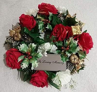 "Artificial Christmas Grave Wreath 14"" - Luxury Range - Includes Plaque"